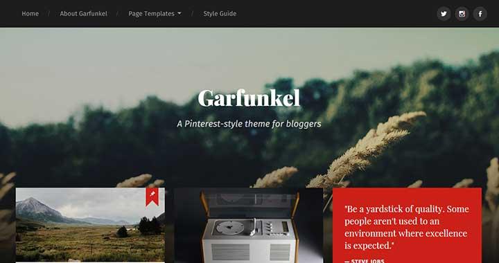 Garfunkel WordPress Pinterest Theme