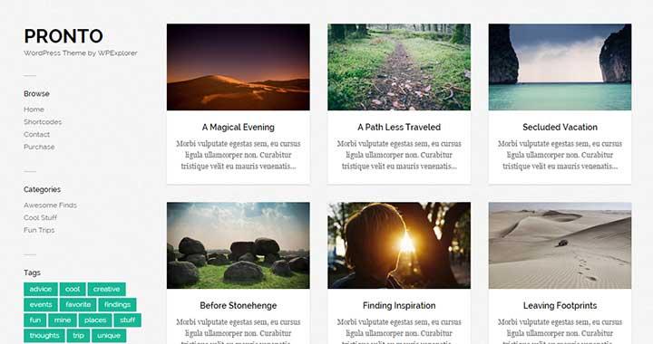 Pronto Pinterest WordPress Theme