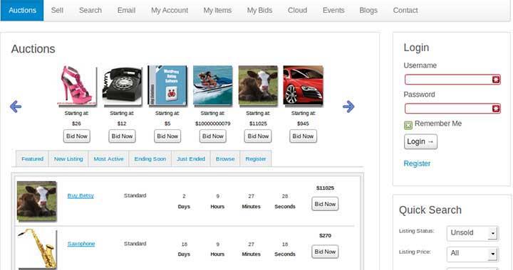 WordPress Auction Software