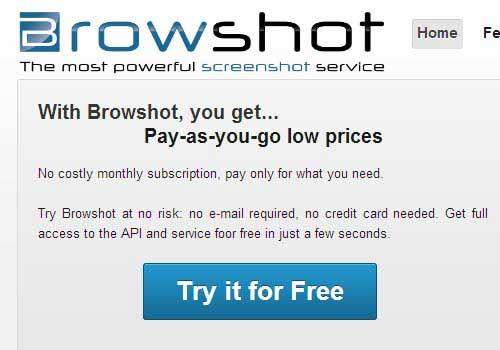 Browshot Online Screen Capture Tool