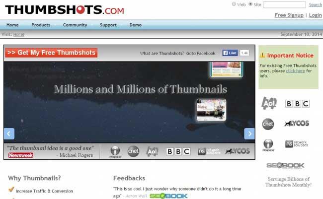 Thumbshots Screen Capture Service