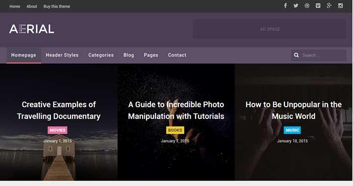 AERIAL WordPress Black Themes