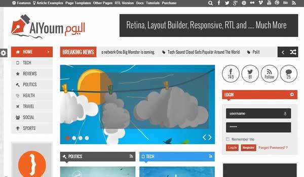 AlYoum Retina Magazine Blog WordPress Theme