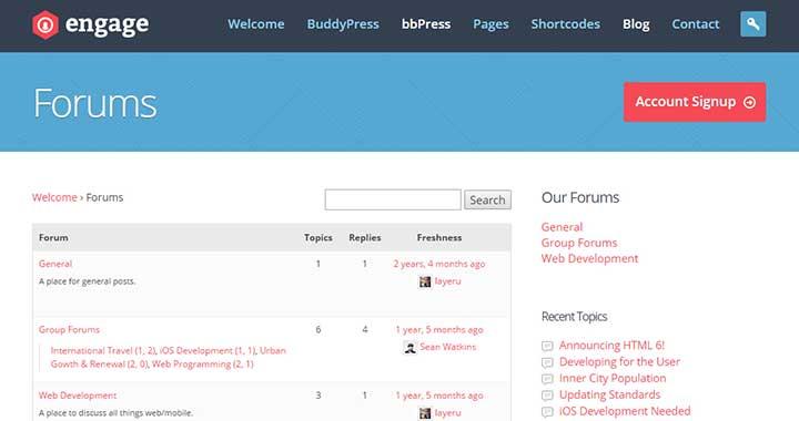 Engage WordPress Forum Theme