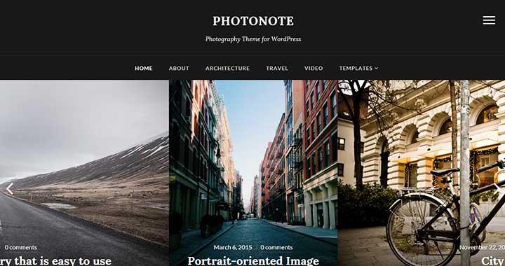 PhotoNote Simple Dark WordPress Theme
