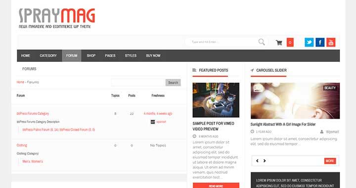 Spraymag WordPress Forum Template