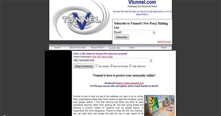 Vtunnel web proxy sites