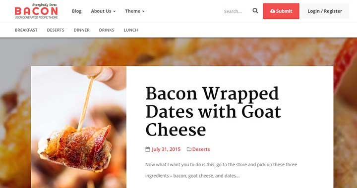 Bacon user driven content sharing wordpress theme