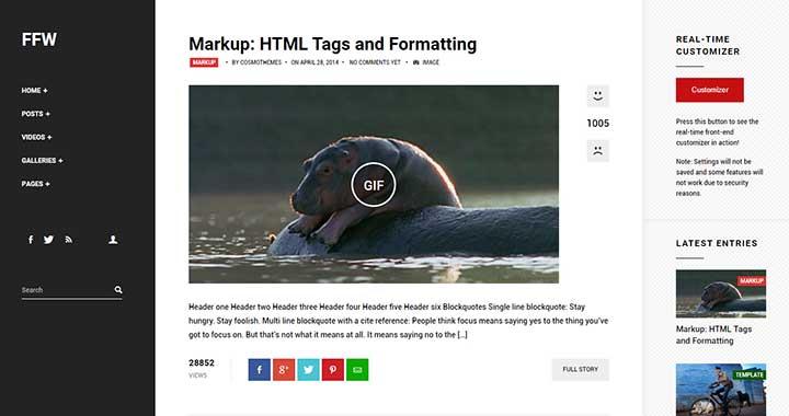 Fast Forward content sharing wordpress theme