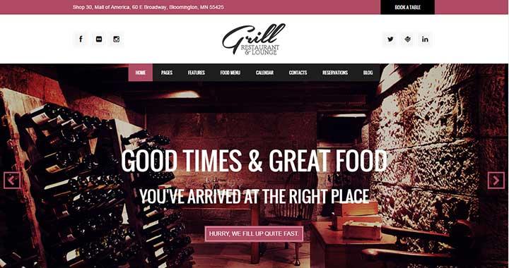 Grill late night wordpress template
