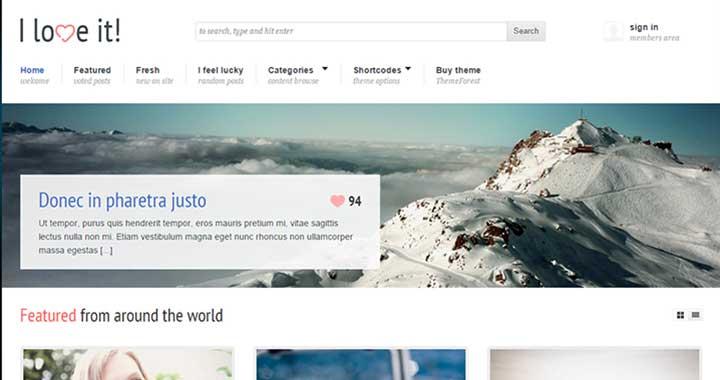 I Love It! content sharing wordpress themes