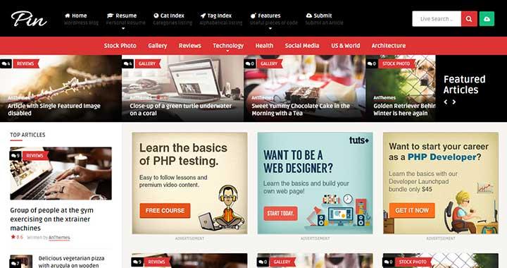 Pin community content sharing wordpress theme