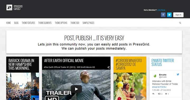 PressGrid content sharing wordpress theme
