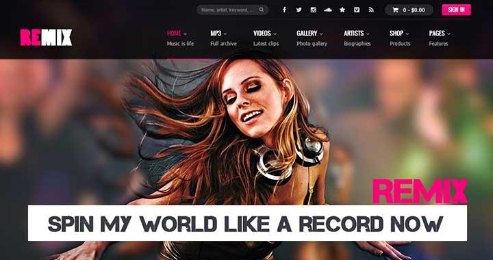 Remix responsive nightclub wordpress themes
