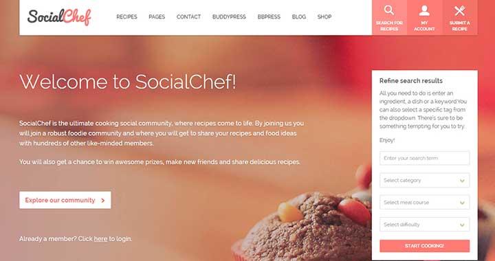 SocialChef best content sharing wordpress theme