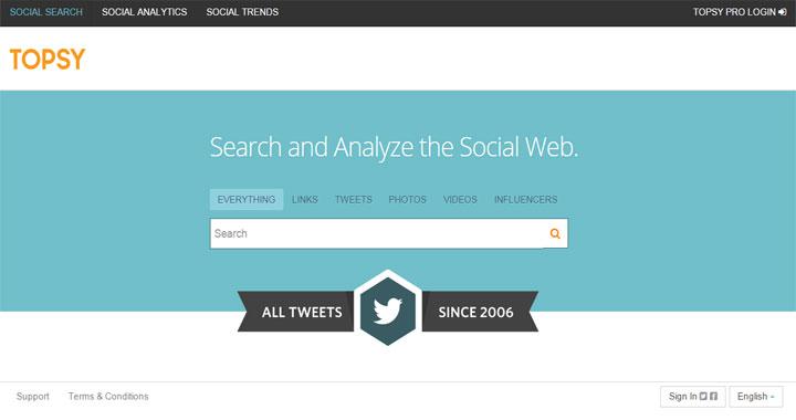 Topsy social media management tool