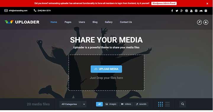 Uploader community content sharing wordpress theme
