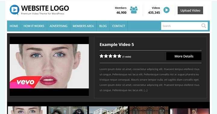 Video Theme content sharing wordpress theme