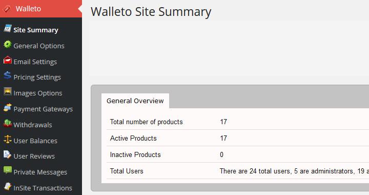 walleto site settings
