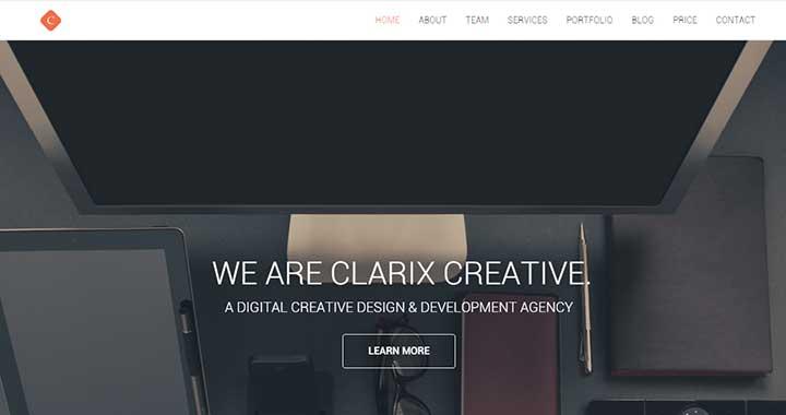 Clarix small business website WordPress theme