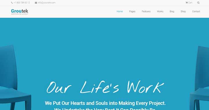 Groutek WordPress theme for startups