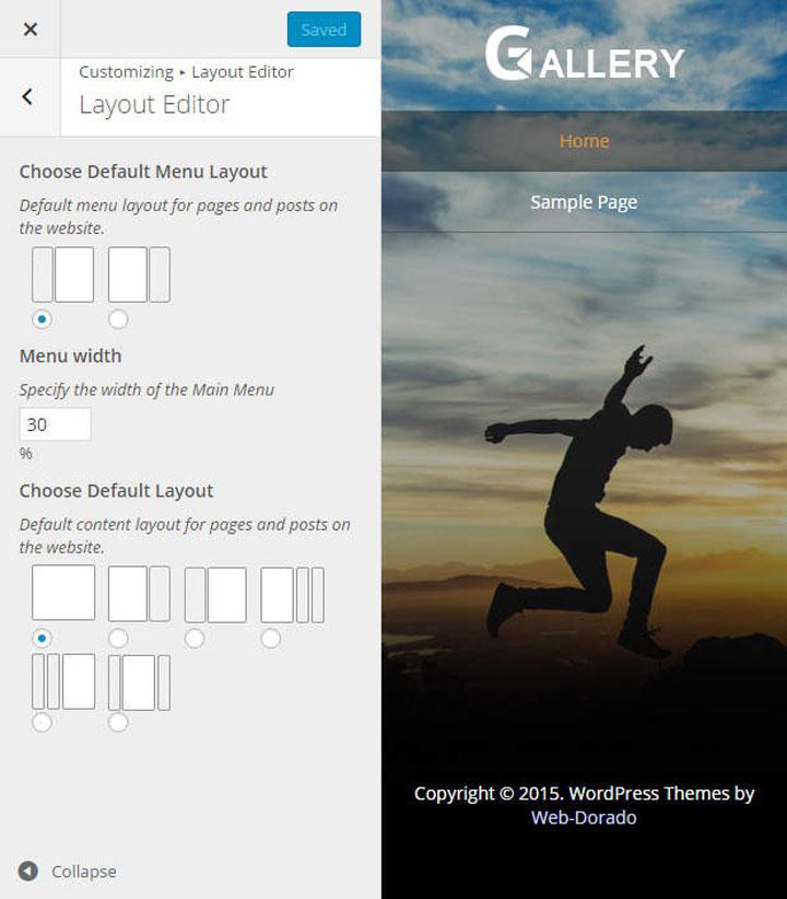 Portfolio gallery theme customizer